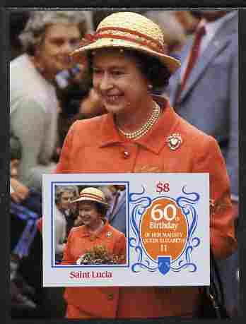 St Lucia 1986 Queen's 60th Birthday $8 imperf m/sheet unmounted mint as SG MS 880