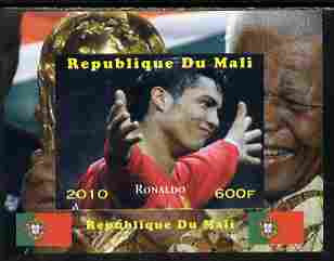 Mali 2010 Football World Cup - Ronaldo with Nelson Mandela in background individual imperf deluxe sheetlet unmounted mint. Note this item is privately produced and is offered purely on its thematic appeal