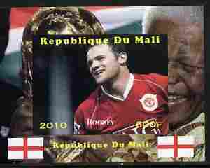 Mali 2010 Football World Cup - Rooney with Nelson Mandela in background individual imperf deluxe sheetlet unmounted mint. Note this item is privately produced and is offered purely on its thematic appeal