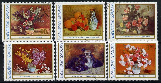Rumania 1976 Floral Paintings set of 6 cto used, Mi 3382-87, SG 4249-54