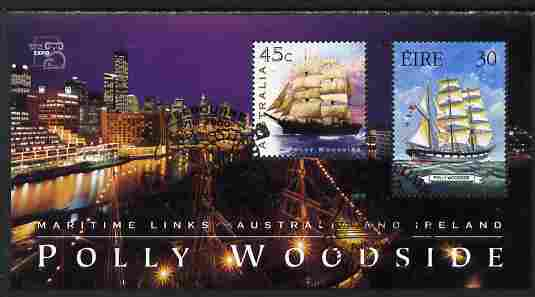 Australia & Ireland 1999 Joint Issue perf m/sheet depicting Polly Woodside with Stamp World Expo logo fine used SG MS 1850