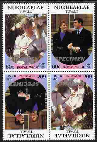 Tuvalu - Nukulaelae 1986 Royal Wedding (Andrew & Fergie) 60c perf tete-beche block of 4 (2 se-tenant pairs) overprinted SPECIMEN in silver (Italic caps 26.5 x 3 mm) unmounted mint from Printer's uncut proof sheet