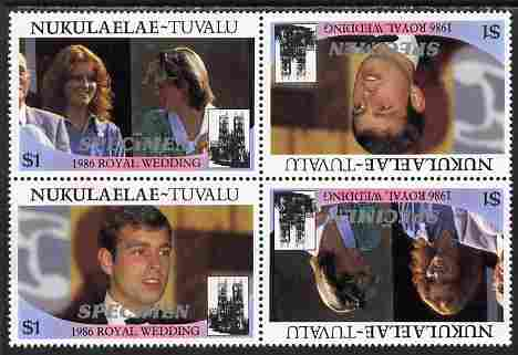 Tuvalu - Nukulaelae 1986 Royal Wedding (Andrew & Fergie) $1 perf tete-beche block of 4 (2 se-tenant pairs) overprinted SPECIMEN in silver (Italic caps 26.5 x 3 mm) unmounted mint from Printer's uncut proof sheet, stamps on royalty, stamps on andrew, stamps on fergie, stamps on