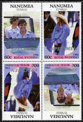 Tuvalu - Nanumea 1986 Royal Wedding (Andrew & Fergie) 60c perf tete-beche block of 4 (2 se-tenant pairs) overprinted SPECIMEN in silver (Italic caps 26.5 x 3 mm) unmounted mint from Printer's uncut proof sheet