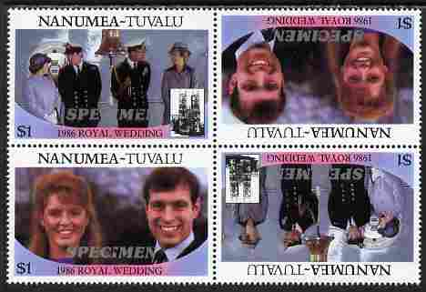 Tuvalu - Nanumea 1986 Royal Wedding (Andrew & Fergie) $1 perf tete-beche block of 4 (2 se-tenant pairs) overprinted SPECIMEN in silver (Italic caps 26.5 x 3 mm) unmounted mint from Printer's uncut proof sheet