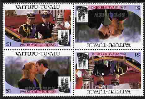 Tuvalu - Vaitupu 1986 Royal Wedding (Andrew & Fergie) $1 perf tete-beche block of 4 (2 se-tenant pairs) overprinted SPECIMEN in silver (Italic caps 26.5 x 3 mm) unmounted mint from Printer's uncut proof sheet