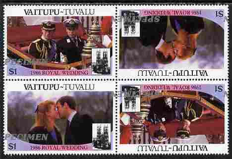 Tuvalu - Vaitupu 1986 Royal Wedding (Andrew & Fergie) $1 perf tete-beche block of 4 (2 se-tenant pairs) overprinted SPECIMEN in silver (Italic caps 26.5 x 3 mm) with overprint misplaced by 20 mm unmounted mint from Printer's uncut proof sheet
