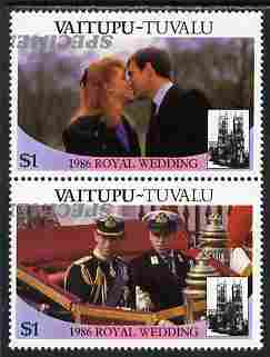 Tuvalu - Vaitupu 1986 Royal Wedding (Andrew & Fergie) $1 perf se-tenant pair overprinted SPECIMEN in silver (Italic caps 26.5 x 3 mm) with overprint inverted unmounted mint from Printer's uncut proof sheet