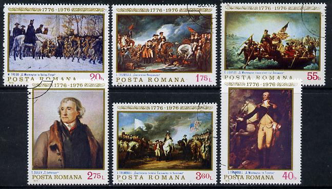 Rumania 1976 'Interphil '76' Stamp Exhibition & USA Bicentenary (Paintings) set of 6 cto used, Mi 3320-25, SG 4190-95