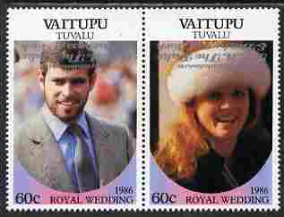 Tuvalu - Vaitupu 1986 Royal Wedding (Andrew & Fergie) 60c with 'Congratulations' opt in silver  se-tenant pair with overprint inverted unmounted mint from Printer's uncut proof sheet