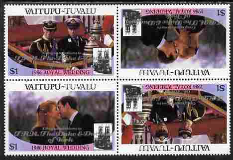 Tuvalu - Vaitupu 1986 Royal Wedding (Andrew & Fergie) $1 with 'Congratulations' opt in silver in unissued perf tete-beche block of 4 (2 se-tenant pairs) unmounted mint from Printer's uncut proof sheet