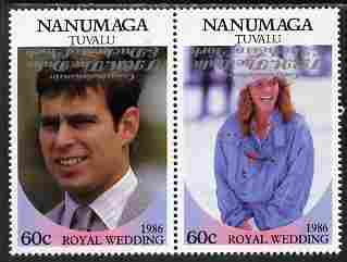Tuvalu - Nanumaga 1986 Royal Wedding (Andrew & Fergie) 60c with 'Congratulations' opt in silver  se-tenant pair with overprint inverted unmounted mint from Printer's uncut proof sheet