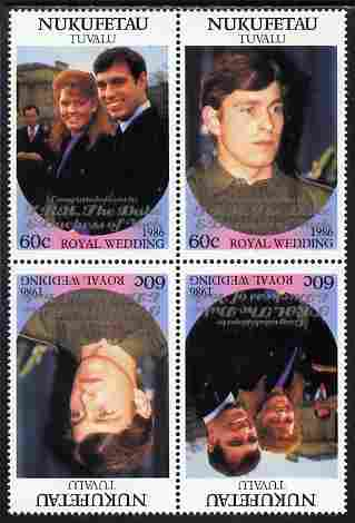 Tuvalu - Nukufetau 1986 Royal Wedding (Andrew & Fergie) 60c with 'Congratulations' opt in silver in unissued perf tete-beche block of 4 (2 se-tenant pairs) unmounted mint from Printer's uncut proof sheet