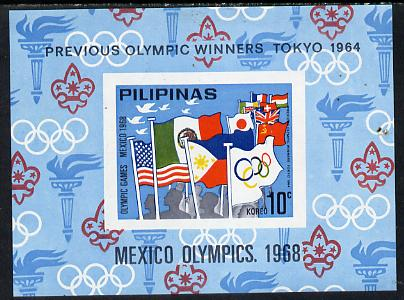 Philippines 1968  Mexico Olympic Games unissued 10c imperf m/sheet showing flags & Scout emblem unmounted mint