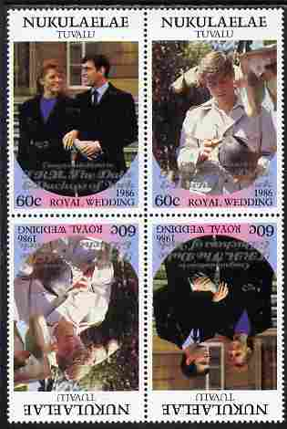 Tuvalu - Nukulaelae 1986 Royal Wedding (Andrew & Fergie) 60c with 'Congratulations' opt in silver in unissued perf tete-beche block of 4 (2 se-tenant pairs) unmounted mint from Printer's uncut proof sheet