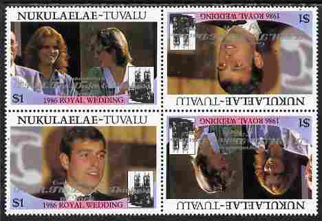 Tuvalu - Nukulaelae 1986 Royal Wedding (Andrew & Fergie) $1 with 'Congratulations' opt in silver in unissued perf tete-beche block of 4 (2 se-tenant pairs) unmounted mint from Printer's uncut proof sheet