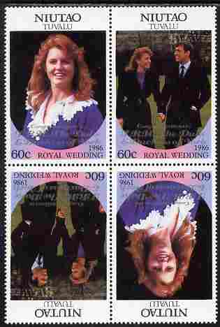 Tuvalu - Niutao 1986 Royal Wedding (Andrew & Fergie) 60c with 'Congratulations' opt in silver in unissued perf tete-beche block of 4 (2 se-tenant pairs) unmounted mint from Printer's uncut proof sheet