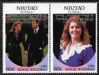 Tuvalu - Niutao 1986 Royal Wedding (Andrew & Fergie) 60c with 'Congratulations' opt in silver  se-tenant pair with overprint inverted unmounted mint from Printer's uncut proof sheet
