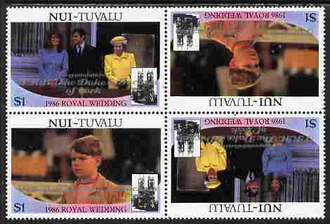 Tuvalu - Nui 1986 Royal Wedding (Andrew & Fergie) $1 with 'Congratulations' opt in silver in unissued perf tete-beche block of 4 (2 se-tenant pairs) unmounted mint from Printer's uncut proof sheet