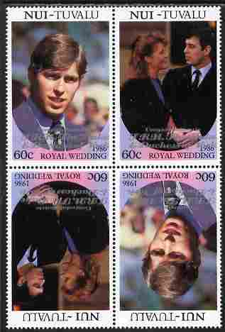 Tuvalu - Nui 1986 Royal Wedding (Andrew & Fergie) 60c with 'Congratulations' opt in silver in unissued perf tete-beche block of 4 (2 se-tenant pairs) unmounted mint from Printer's uncut proof sheet