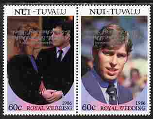 Tuvalu - Nui 1986 Royal Wedding (Andrew & Fergie) 60c with 'Congratulations' opt in silver in se-tenant pair with overprint inverted unmounted mint from Printer's uncut proof sheet