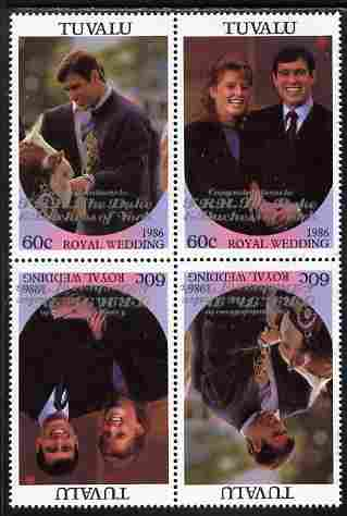 Tuvalu 1986 Royal Wedding (Andrew & Fergie) 60c with 'Congratulations' opt in silver in unissued perf tete-beche block of 4 (2 se-tenant pairs) unmounted mint from Printer's uncut proof sheet