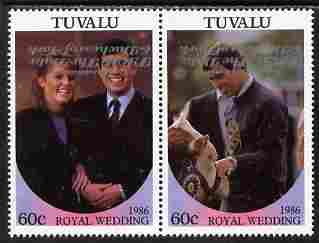 Tuvalu 1986 Royal Wedding (Andrew & Fergie) 60c with 'Congratulations' opt in silver se-tenant pair with overprint inverted unmounted mint from Printer's uncut proof sheet