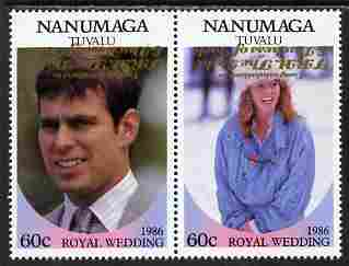 Tuvalu - Nanumaga 1986 Royal Wedding (Andrew & Fergie) 60c with 'Congratulations' opt in gold se-tenant pair with overprint inverted unmounted mint from Printer's uncut proof sheet