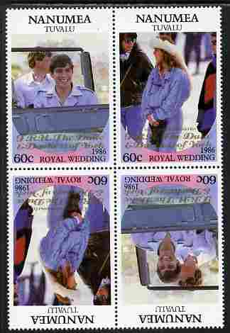 Tuvalu - Nanumea 1986 Royal Wedding (Andrew & Fergie) 60c with 'Congratulations' opt in gold in unissued perf tete-beche block of 4 (2 se-tenant pairs) unmounted mint from Printer's uncut proof sheet
