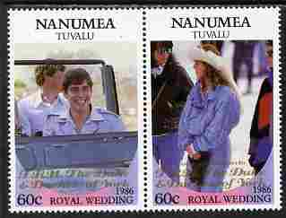 Tuvalu - Nanumea 1986 Royal Wedding (Andrew & Fergie) 60c with 'Congratulations' opt in gold se-tenant pair unmounted mint from Printer's uncut proof sheet