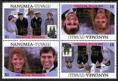 Tuvalu - Nanumea 1986 Royal Wedding (Andrew & Fergie) $1 with 'Congratulations' opt in gold in unissued perf tete-beche block of 4 (2 se-tenant pairs) unmounted mint from Printer's uncut proof sheet