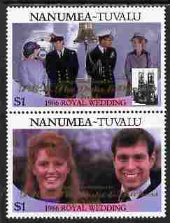 Tuvalu - Nanumea 1986 Royal Wedding (Andrew & Fergie) $1 with 'Congratulations' opt in gold se-tenant pair unmounted mint from Printer's uncut proof sheet