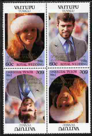 Tuvalu - Vaitupu 1986 Royal Wedding (Andrew & Fergie) 60c with 'Congratulations' opt in gold in unissued perf tete-beche block of 4 (2 se-tenant pairs) unmounted mint from Printer's uncut proof sheet