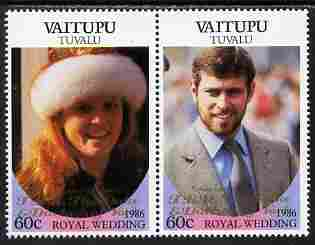 Tuvalu - Vaitupu 1986 Royal Wedding (Andrew & Fergie) 60c with 'Congratulations' opt in gold se-tenant pair unmounted mint from Printer's uncut proof sheet