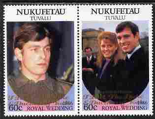 Tuvalu - Nukufetau 1986 Royal Wedding (Andrew & Fergie) 60c with 'Congratulations' opt in gold se-tenant pair unmounted mint from Printer's uncut proof sheet