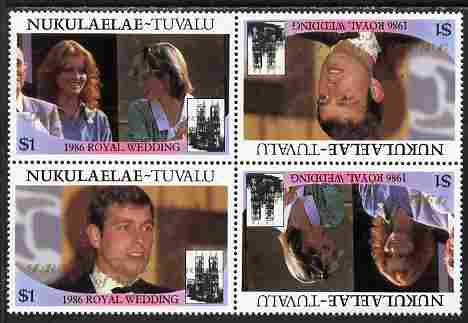 Tuvalu - Nukulaelae 1986 Royal Wedding (Andrew & Fergie) $1 with 'Congratulations' opt in gold in unissued perf tete-beche block of 4 (2 se-tenant pairs) unmounted mint from Printer's uncut proof sheet