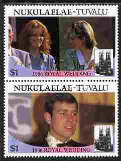 Tuvalu - Nukulaelae 1986 Royal Wedding (Andrew & Fergie) $1 with 'Congratulations' opt in gold se-tenant pair unmounted mint from Printer's uncut proof sheet