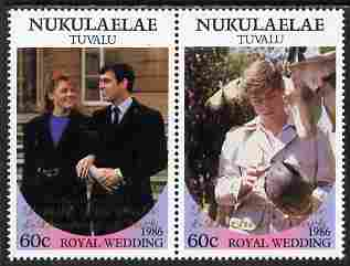 Tuvalu - Nukulaelae 1986 Royal Wedding (Andrew & Fergie) 60c with 'Congratulations' opt in gold se-tenant pair unmounted mint from Printer's uncut proof sheet