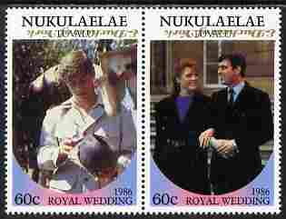 Tuvalu - Nukulaelae 1986 Royal Wedding (Andrew & Fergie) 60c with 'Congratulations' opt in gold se-tenant pair with overprint inverted unmounted mint from Printer's uncut proof sheet