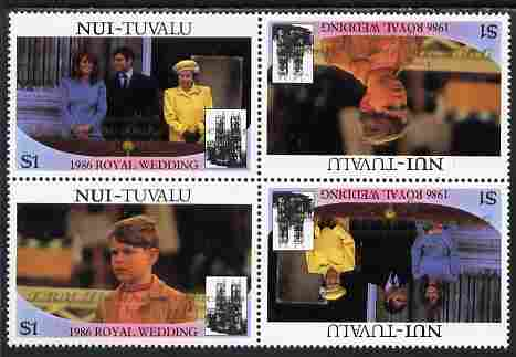 Tuvalu - Nui 1986 Royal Wedding (Andrew & Fergie) $1 with 'Congratulations' opt in gold in unissued perf tete-beche block of 4 (2 se-tenant pairs) unmounted mint from Printer's uncut proof sheet