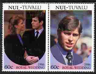 Tuvalu - Nui 1986 Royal Wedding (Andrew & Fergie) 60c with 'Congratulations' opt in gold se-tenant pair with overprint inverted unmounted mint from Printer's uncut proof sheet
