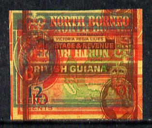 North Borneo - British Guiana 1961 spectacular piece of printers waste from De La Rue archives comprising N Borneo 16c frame, 10c frame & vignette, 10c frame (inverted) p...