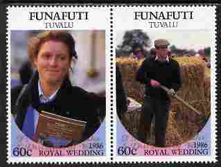 Tuvalu - Funafuti 1986 Royal Wedding (Andrew & Fergie) $1 with 'Congratulations' opt in gold se-tenant pair unmounted mint from Printer's uncut proof sheet