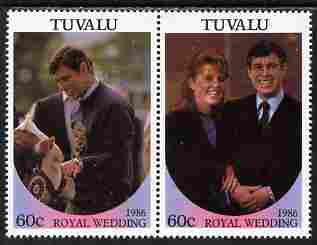 Tuvalu 1986 Royal Wedding (Andrew & Fergie) 60c with 'Congratulations' opt in gold se-tenant pair with overprint inverted unmounted mint from Printer's uncut proof sheet