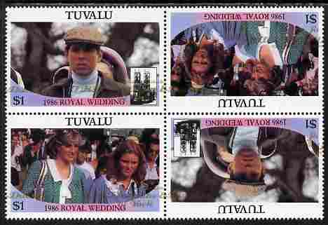 Tuvalu 1986 Royal Wedding (Andrew & Fergie) $1 with 'Congratulations' opt in gold in unissued perf tete-beche block of 4 (2 se-tenant pairs) with overprint misplaced 20 mm unmounted mint from Printer's uncut proof sheet