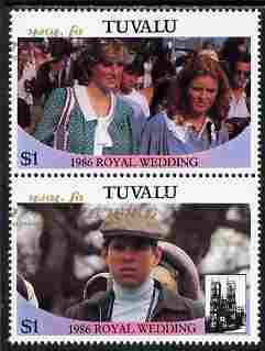 Tuvalu 1986 Royal Wedding (Andrew & Fergie) $1 with 'Congratulations' opt in gold se-tenant pair with overprint inverted and misplaced unmounted mint from Printer's uncut proof sheet