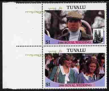 Tuvalu 1986 Royal Wedding (Andrew & Fergie) $1 with 'Congratulations' opt in gold se-tenant marginal pair with overprint inverted and misplaced unmounted mint from Printer's uncut proof sheet