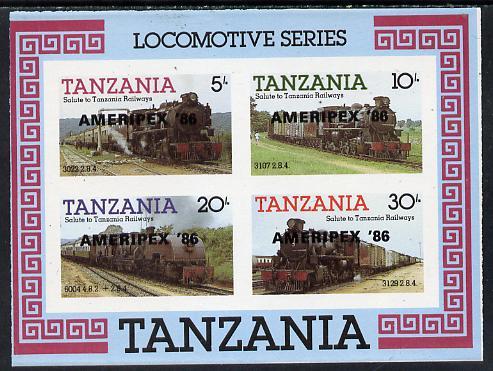 Tanzania 1986 Railways imperf m/sheet (as SG MS 434) overprinted 'AMERIPEX '86' in black, unmounted mint