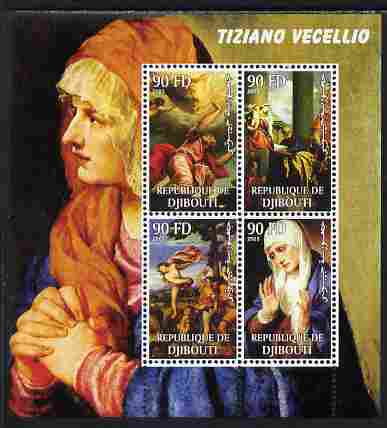Djibouti 2003 Paintings by Tiziano perf sheetlet containing 4 values unmounted mint