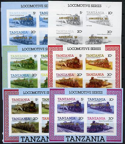 Tanzania 1986 Locomotives m/sheet (as SG MS 434) unmounted mint imperf set of 6 progressive colour proofs each with 'AMERIPEX 86' opt in gold